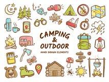 Hand dragit campa och utomhus- rekreationbeståndsdelar Arkivfoto
