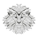 Hand dragit dekorativt lejon stock illustrationer