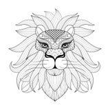 Hand dragit dekorativt lejon för zentangle för vuxna färgläggningsidor, p vektor illustrationer