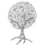Hand-dragit dekorativt träd stock illustrationer