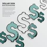 Hand dragit dollartecken på vit bakgrund vektor Fotografering för Bildbyråer