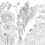 Hand dragit felikt flyg i blommaland för färgläggningboken för vuxen människa Arkivbilder