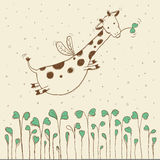 Hand-dragit flyga giraffet Royaltyfri Bild