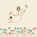 Hand-dragit flyga kaninen Arkivbilder