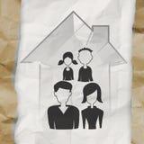 Hand dragit hus 3d med familjsymbolen Arkivbilder