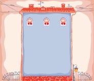 Hand-dragit hus som en bakgrund eller en ram Arkivbild