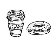Hand dragit kaffe- och munkklotter Skissa mat och drinken, symbol stock illustrationer