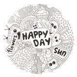 Hand-dragit klotter också vektor för coreldrawillustration Lycklig dag av små tecken sinnesrörelser Blommor Arkivbild