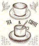 Hand dragit kopp kaffe och te vektor illustrationer