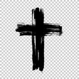 Hand dragit kors Grungekors Kors som göras med borsteslaglängden Arkivfoto