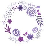 Hand dragit kort med blom- beståndsdelar Arkivfoto