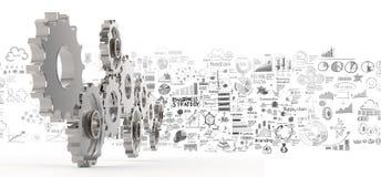 Hand dragit kugghjul för affärsstrategi 3d till framgång Fotografering för Bildbyråer