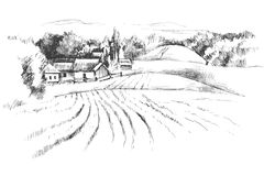 Hand dragit landskap med fält Arkivbild