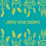 Hand-dragit med färgpulverdreamcatcher med fjädrar Royaltyfria Foton