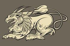 Hand dragit medeltida monster royaltyfri illustrationer