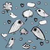 Hand dragit moln av tankar och fåglar Vektor Illustrationer