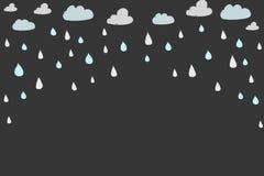Hand dragit moln och regn Royaltyfri Foto