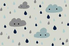 Hand dragit moln och regn Royaltyfri Bild