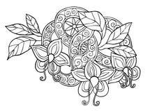 Hand dragit monokromt klotterblommor, blad och band med virvel Royaltyfri Fotografi