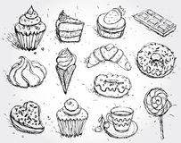 Hand dragit munk och kaffe för kaka för glass för marshmallow för godis för muffin för konfektuppsättninggiffel vektor illustrationer