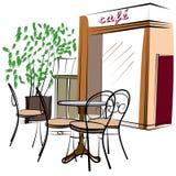 Hand dragit Paris kafé vektor illustrationer