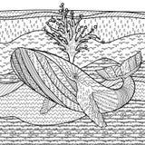 Hand dragit puckelryggval i vågorna stock illustrationer