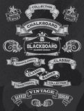 Hand dragit retro baner för svart tavlatappning Royaltyfria Foton