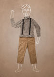 Hand dragit roligt tecken i tillfällig kläder Arkivbild