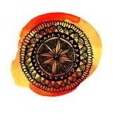 Hand dragit runt mandalasymbol Utsmyckad vektor stock illustrationer