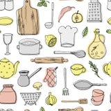 Hand dragit sömlöst pttern för kökbeståndsdelar Fotografering för Bildbyråer