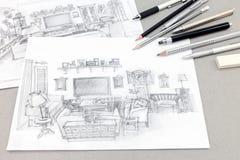 Hand-dragit skissar av hemmiljö med teckningshjälpmedel på grå färger Arkivbild