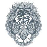 Hand dragit svartabstrakt begrepp Tiger Head också vektor för coreldrawillustration Arkivfoto