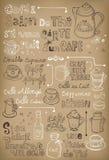 Hand dragit tappningkaffe i franskt royaltyfri illustrationer
