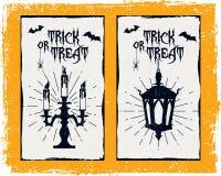 Hand dragit texturerat allhelgonaaftonkort stock illustrationer