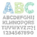 Hand dragit utsmyckat alfabet också vektor för coreldrawillustration stock illustrationer