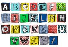 Hand dragit utsmyckat alfabet på kvarter vektor illustrationer