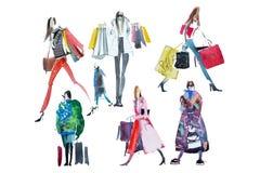 Hand dragit vattenfärgfolk med shoppingpåsar Mode försäljning vektor illustrationer