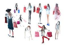 Hand dragit vattenfärgfolk med shoppingpåsar Mode försäljning arkivbild