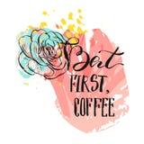 Hand dragit vektorabstrakt begrepp som drar den moderna kortmallen med handskriven färgpulverbokstäverfas men första kaffe och stock illustrationer
