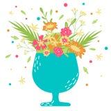 Hand-dragit vektorhälsningkort med blommor i en kopp 9 inställda underbara fjädertulpan för mood mångfärgade bilder royaltyfri illustrationer