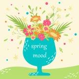 Hand-dragit vektorhälsningkort med blommor i en kopp 9 inställda underbara fjädertulpan för mood mångfärgade bilder stock illustrationer