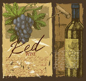 Hand dragit vin Arkivfoto