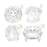 Hand dragit zodiaktecken Leo Gemini Virgo Cancer royaltyfri illustrationer