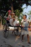 Hand dragna Rickshaws av Kolkata Royaltyfria Foton