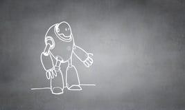 Hand dran robot. Funny childish drawn robot on concrete background Stock Photos