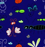 Hand draw abstract seamless pattern of bugs royalty free illustration