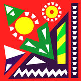 Hand draw acrylic painting composition. Bright background. Ethnic African or Mexican motive. Colorful template with geometric shapes. Abstract art digital royalty free illustration