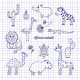 Hand-draw African animals Royalty Free Stock Photography