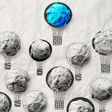 Hand draw air balloons with crumpled paper Stock Images