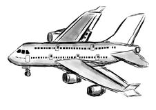 Hand draw airplane Royalty Free Stock Image